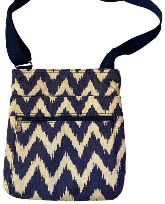 Item - Shoulder Organizing Discontinued Print Muted Navy Blue Cross Body Bag
