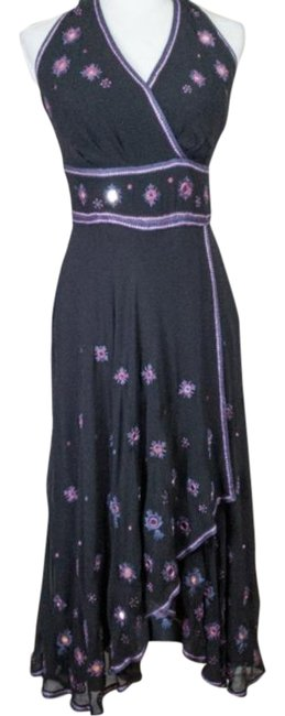 Item - Black Embroidered Halter Mid-length Night Out Dress Size 6 (S)