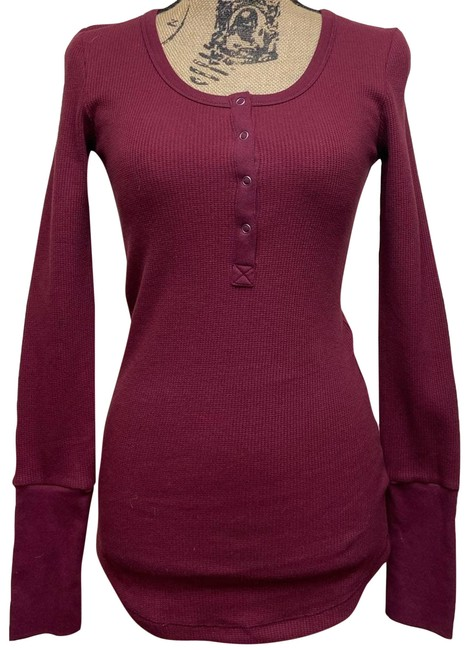 Item - Red Haute Henley Long Sleeve Thermal Ladies Large New Tee Shirt Size 12 (L)