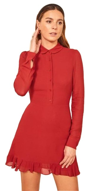 Item - Red Ruffle Short Casual Dress Size 8 (M)