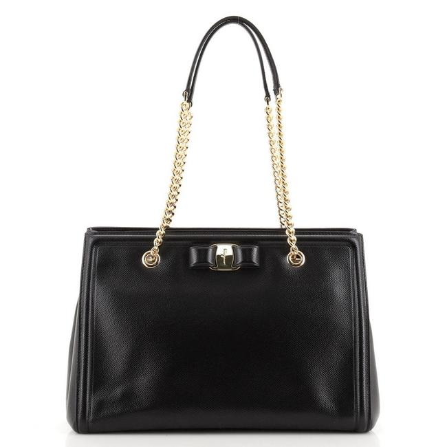 Item - Vara Bow Double Chain Small Black Leather Tote
