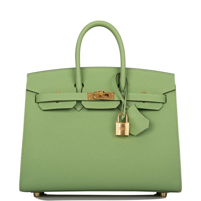 Item - Birkin Vert Criquet Epsom Sellier 25cm Gold Hardware Green Leather Satchel