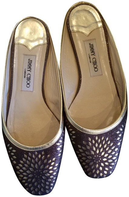 Item - Dark Brown and Gold Perforated Leather Flats Size EU 40 (Approx. US 10) Regular (M, B)
