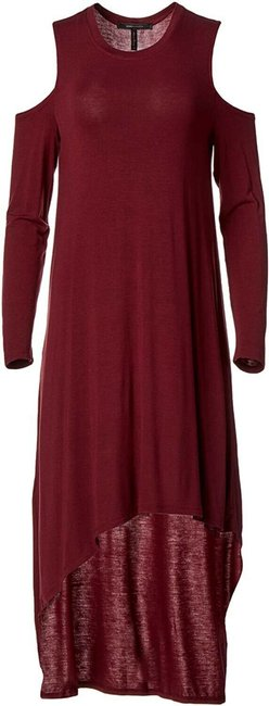 Item - Red Womens Cold Shoulder Asymmetrical Knit Long Casual Maxi Dress Size 4 (S)