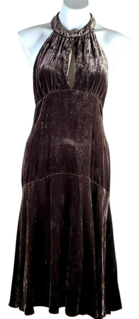 Item - Brown Crushed Velvet Halter Mid-length Night Out Dress Size 8 (M)