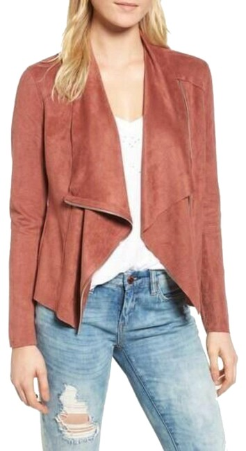 Item - Brown Womens Coral Faux Suede Draped Front Moto Zip Jacket Size 4 (S)