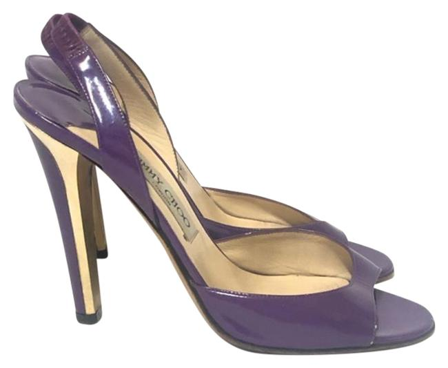 Item - Purple Gold Patent Leather Peep-toe Slingback Heels In With Pumps Size US 8.5 Regular (M, B)