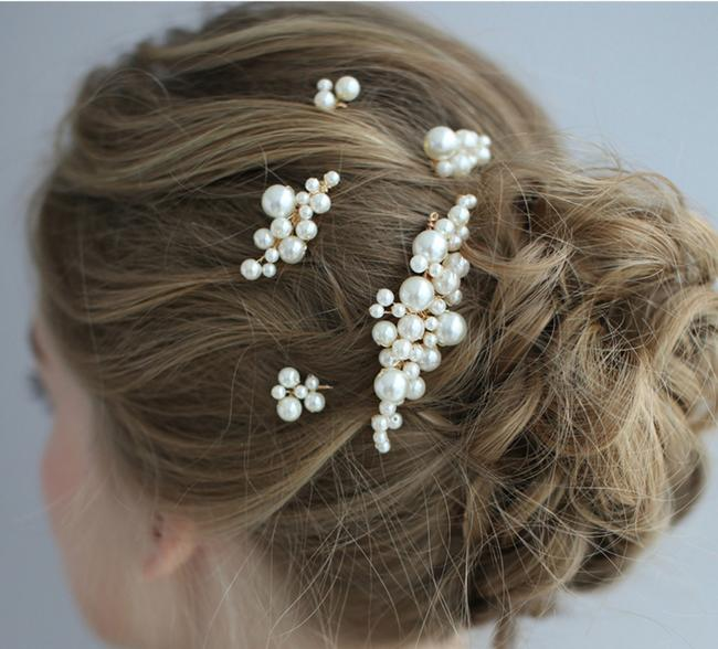 Item - White 5pcs Bride Headpiece Hairpiece Gold Pearl Comb Pin Set Gift Hair Accessory
