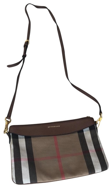 Item - Peyton House Check Tan Black Cream Red Canvas Cross Body Bag