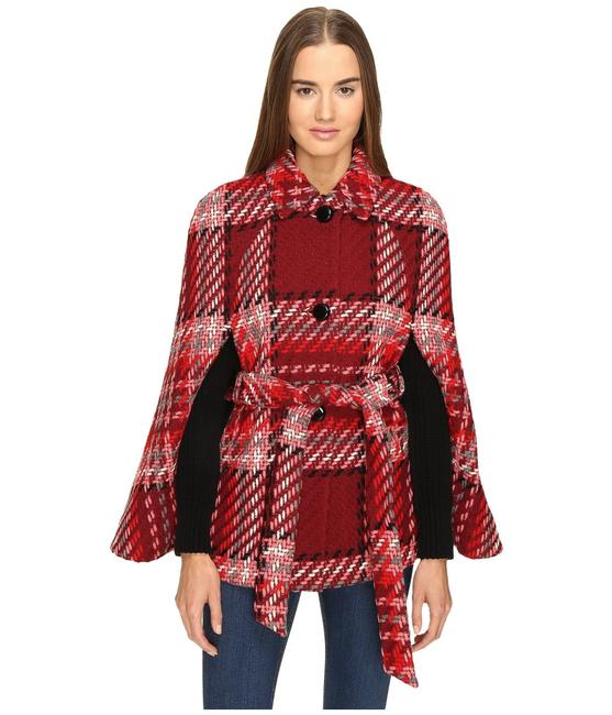 Item - Multi Red Chunky Plaid In Poncho/Cape Size 4 (S)