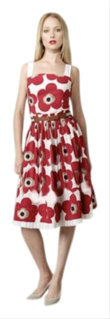 Item - Red Dolce & Gabbana 42 Floral Pleated Patch Short Casual Dress Size 8 (M)