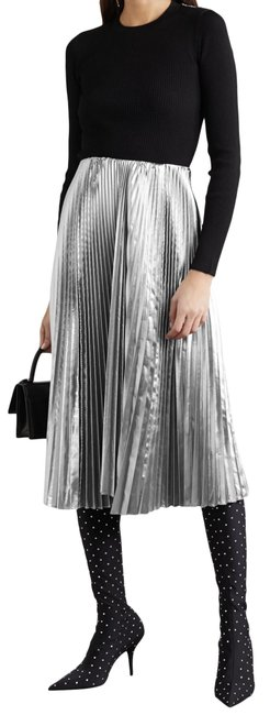 Item - Silver Pleated Lamé Skirt Size 8 (M, 29, 30)