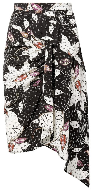 Item - Black Roly Draped Printed Silk-blend Skirt Size 8 (M, 29, 30)