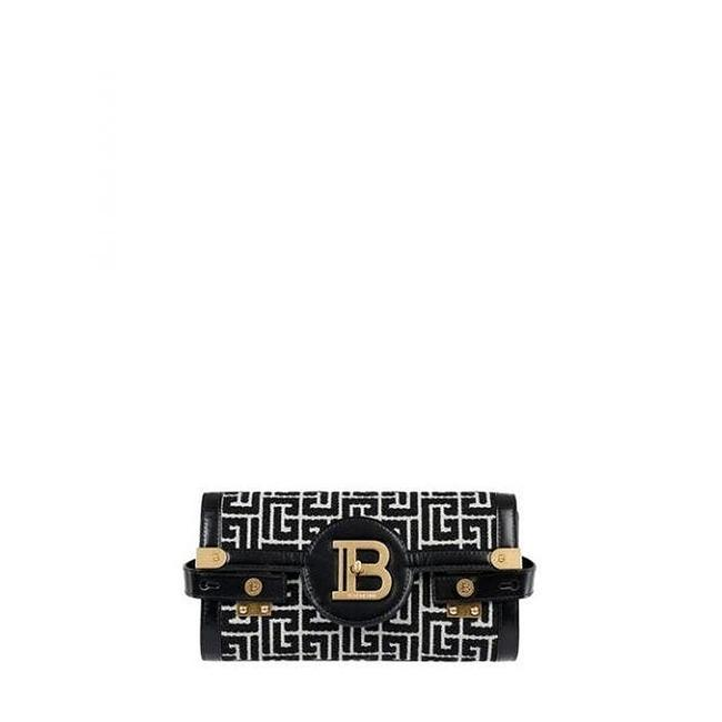 Item - Bicolor Jacquard B-buzz 23 Black and Ivory Leather Clutch