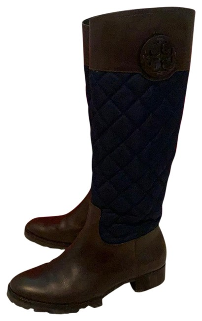 Item - Navy and Brown Rowan Quilted Riding Boots/Booties Size US 8 Regular (M, B)