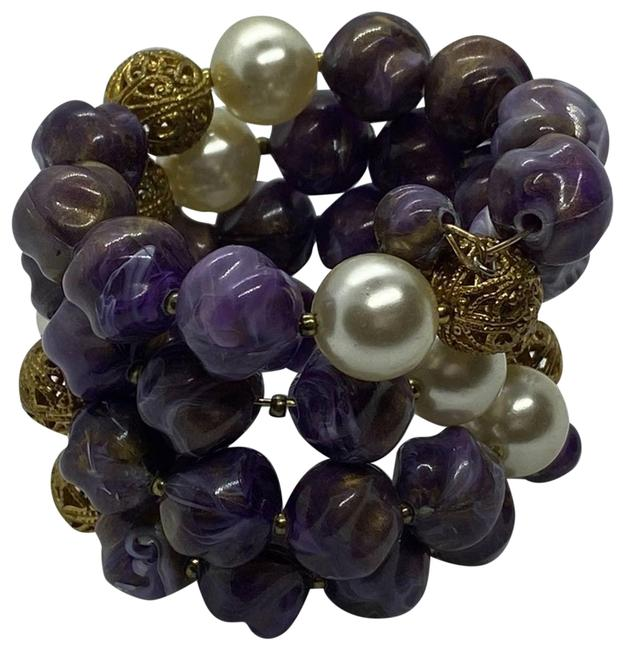 Item - Purple White & Gold Infinity Bracelet