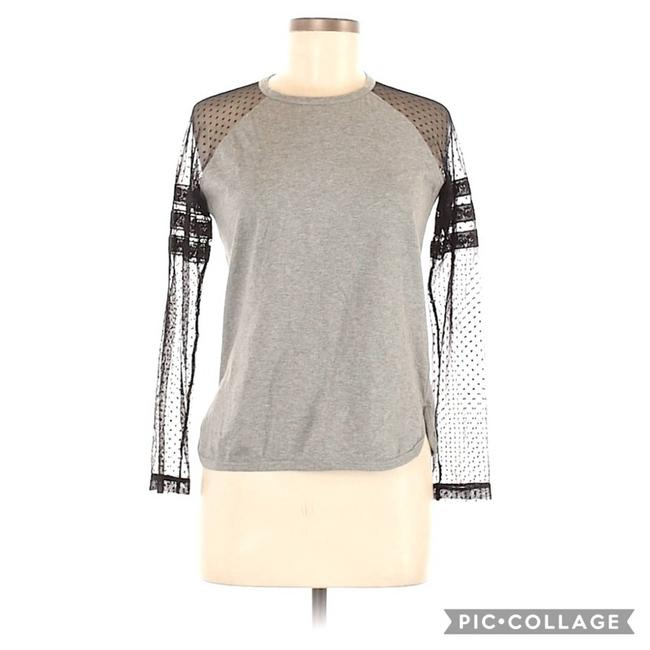 Item - Gray Lace Swiss Dot Sleeve Scoop Neck Blouse Size 8 (M)