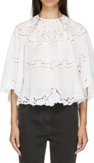 Item - White Marlo Broderie Anglaise Blouse Size 6 (S)