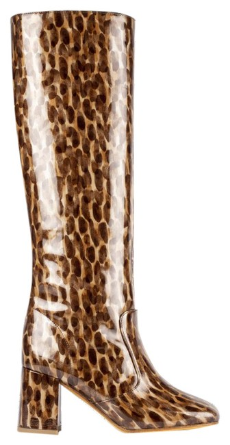 Item - Brown Beige Print Glossy Boots/Booties Size EU 36 (Approx. US 6) Regular (M, B)