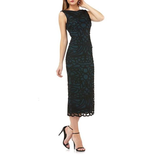Item - Black Green Soutache Mid-length Cocktail Dress Size 8 (M)