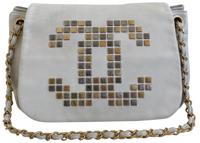 Item - Classic Flap Studded Accordion White Leather Shoulder Bag