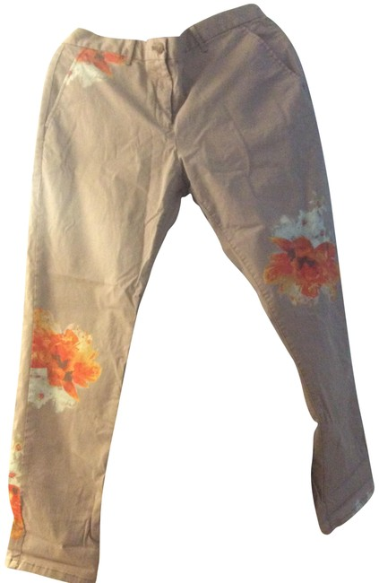 Item - Khaki Tan with Orange Flowers New York San Francisco Pants Size 10 (M, 31)