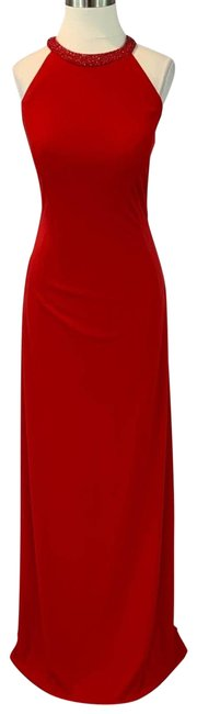 Item - Red Beaded High Long Formal Dress Size 6 (S)