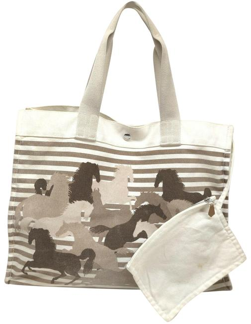 Item - Fourre Tout Tote Ultra Rare Horse Pin Stripe 863112 Grey Canvas Shoulder Bag
