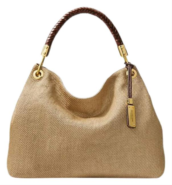 """Item - """"the Collection"""" Skorpios Tan/Canvas Woven/Leather Hobo Bag"""