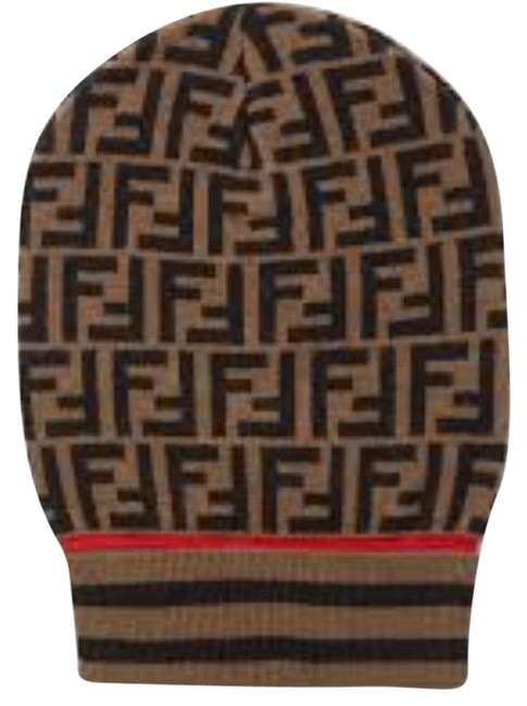 Item - Brown Intarsia Cashmere and Wool-blend Beanie Hat