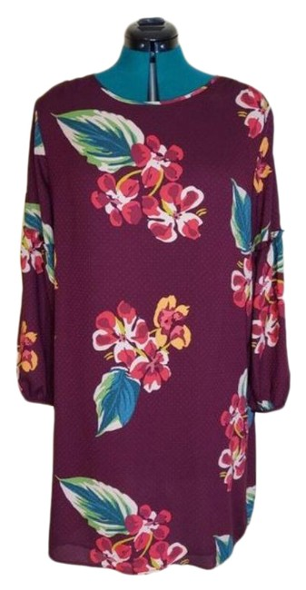 Item - Red Pink Womens Multi Floral Print Long Sleeve Mid-length Short Casual Dress Size Petite 14 (L)