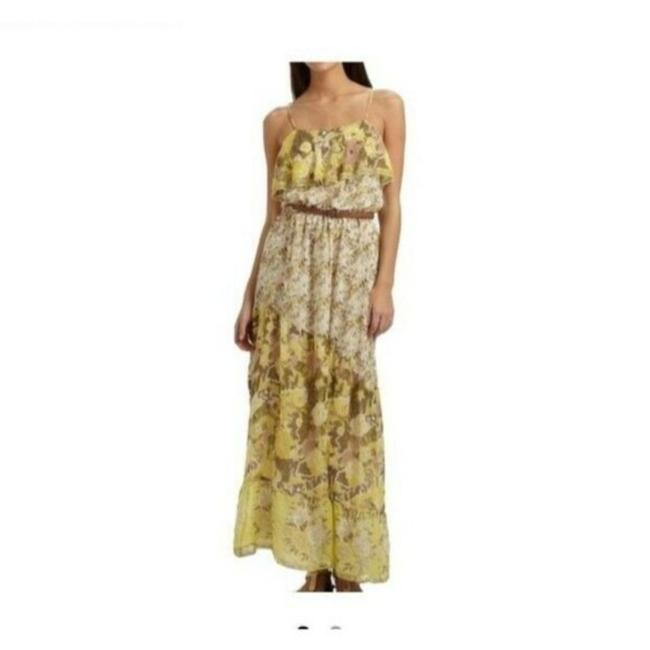 Item - Green Yellow Silk Floral Print Ruffle Long Casual Maxi Dress Size 4 (S)