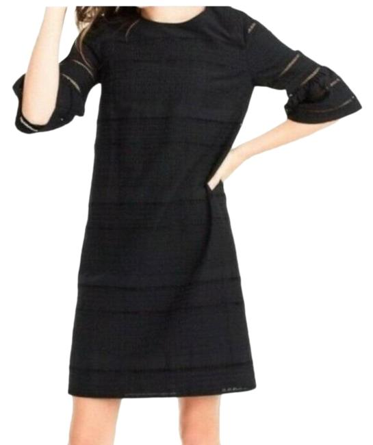 Item - Black Eyelet Lace Flutter Sleeve Mid-length Short Casual Dress Size 2 (XS)