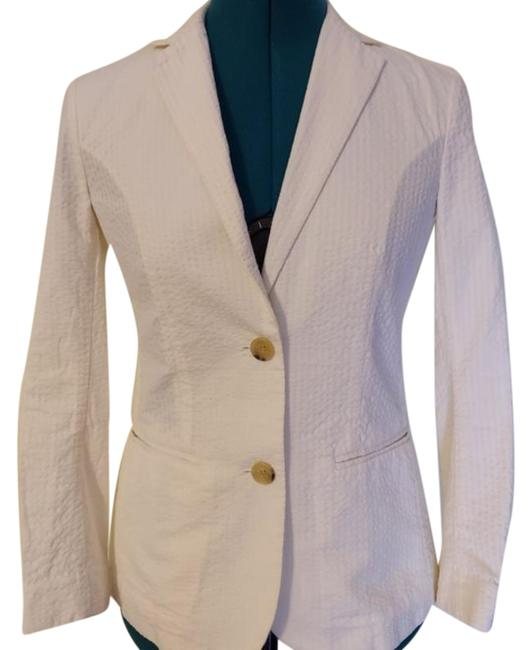 Theory Cream Demma Sea Island Cotton 2 Button Jacket Blazer Size 00 (XXS) Theory Cream Demma Sea Island Cotton 2 Button Jacket Blazer Size 00 (XXS) Image 1