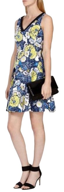 Item - Blue Black Daisy Floral Print Denim V-neck Women's Short Work/Office Dress Size 6 (S)