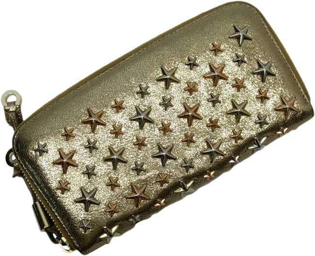 Item - Gold Round Zipper Star Studs Lame Silver Leather Wallet