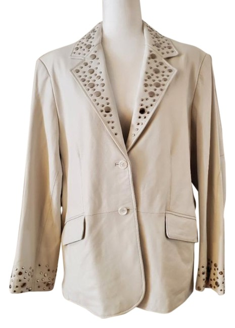 Item - Ivory Collections Leather Studded Blazer Size 20 (Plus 1x)