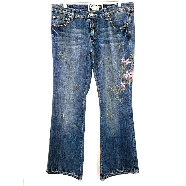 Item - Blue Premium Denim Wear Womens Embroidery Floral 13 558 Straight Leg Jeans Size 31 (6, M)