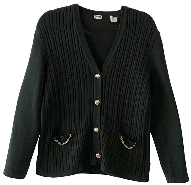 Item - Green 1970's Hunter Cable Knit Us Cardigan Size 14 (L)
