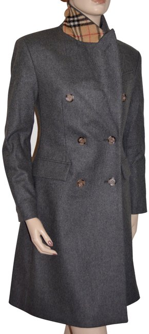 Item - Mid Grey Ponteland Wool Check Coat Size 2 (XS)