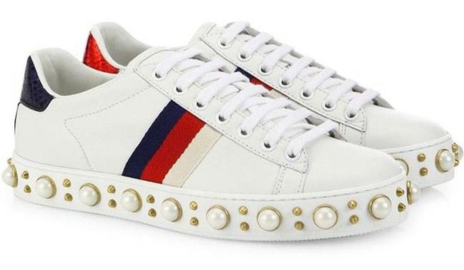 Item - White Pearl &studs Embroider Leather Web Detail 37 Sneakers Size US 7 Regular (M, B)