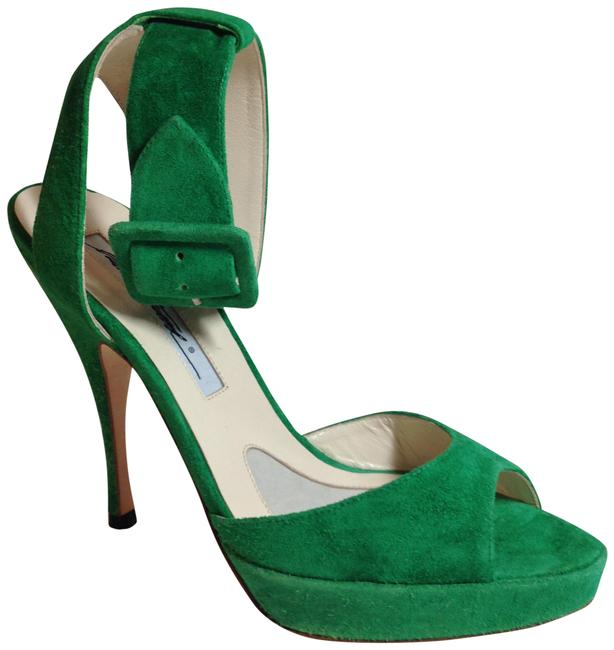 Item - Green Suede Leather Ankle Strap Sandals Platforms Size EU 35.5 (Approx. US 5.5) Regular (M, B)