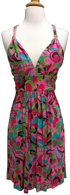 Item - Pink/ Brown/ Multi Color Low-back Print Halter Mid-length Short Casual Dress Size 2 (XS)