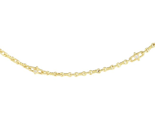 Item - Yellow Gold 18k Twisted Link Diamond Necklace