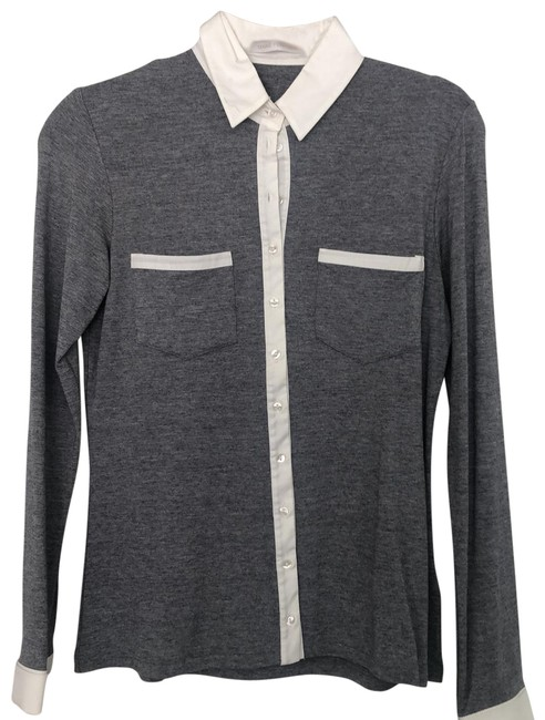 Item - Grey & White H13f261 Button-down Top Size 10 (M)