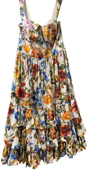 Item - Multicolored Floral Bamboo Printed Cotton Poplin Midi In Long Short Casual Dress Size 12 (L)