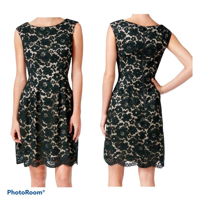 Item - Black and Nude Lace Floral Sheath Mid-length Cocktail Dress Size 4 (S)