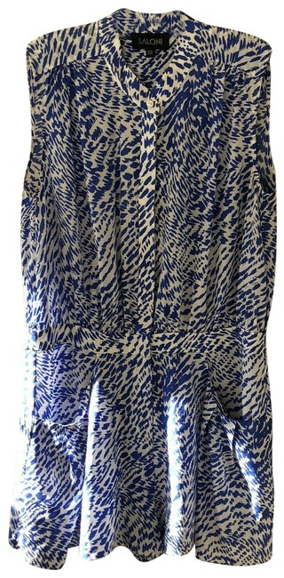 Item - Blue Womens Short Graphic Printed Sleeveless Button Up Romper/Jumpsuit