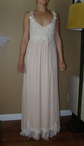 Ivory/Tea A Combination Of New Chiffon and Laces and Silks Judy W/Bows Vintage Wedding Dress Size 4 (S)