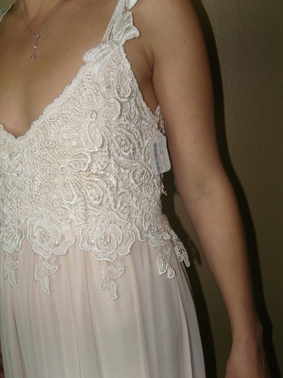 Ivory/Tea A Combination Of New Chiffon and Laces and Silks Judy W/Bows Vintage Wedding Dress Size 4 (S) Image 1